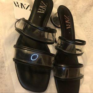 Brand New Zara Black PVC Sandals Size 40